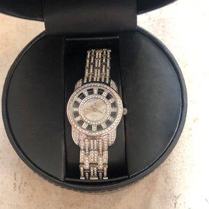 Croton crystal watch ladies in silver beautiful